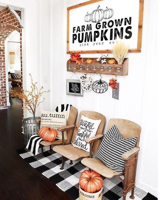 Farm Grown Pumpkins Fall Entryway Decor