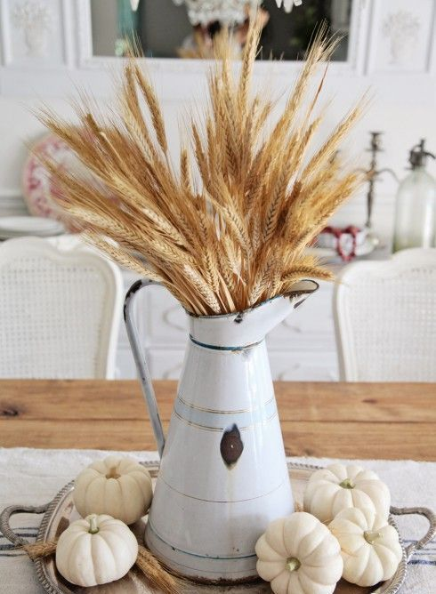 Farmhouse Fall Decor Rustic Centerpiece Of Vintage Pitcher, Neutral Pumpkins, Wheat And Vintage Silver Tray via Shabbyfufu