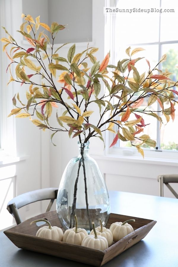 Faux Fall Leaves Centerpiece Dining Room For Fall via thesunnysideupblog