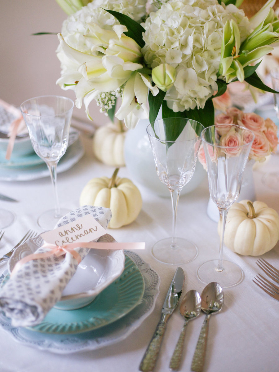 Feminine And Glamorous Thanksgiving Tablescape via Lcbstyle