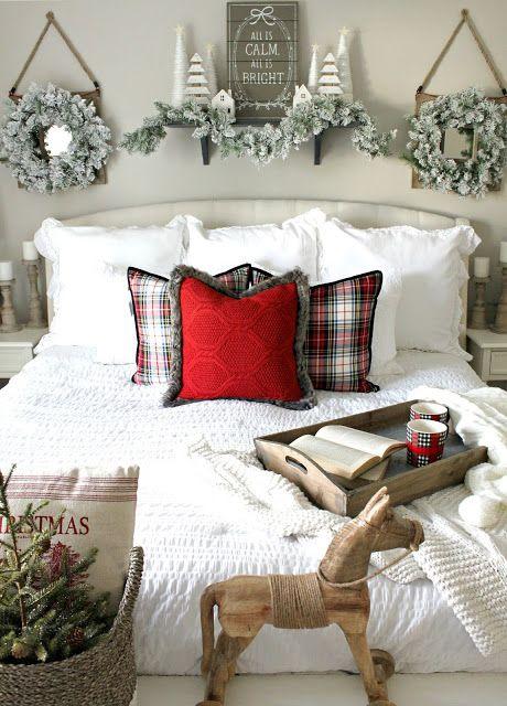 Festive Christmas Bedroom Decor via nestingblissfullyinteriors