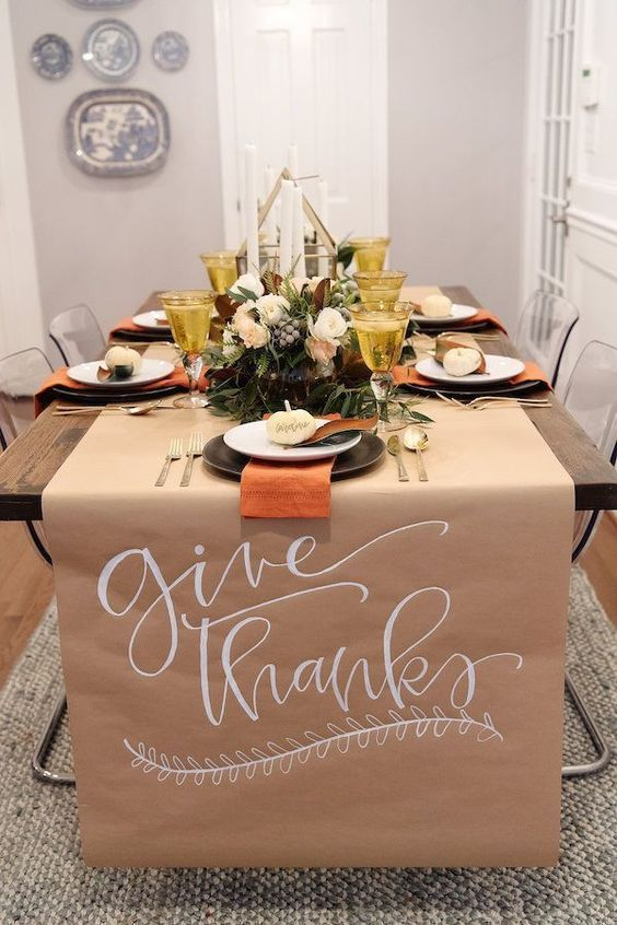 Give Thanks DIY Thanksgiving Tablescape With Paper Table Cover via Houseofharper