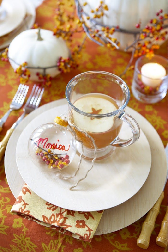 Glass Balls Thanksgiving Place Card via Yourcozyhome