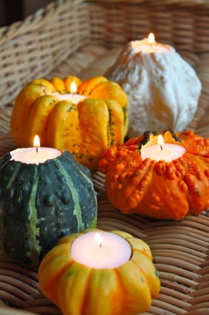 Gourd Candle Holders DIY Fall via Revel
