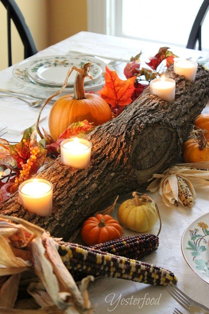 Log DIY Thanksgiving Centerpiece By Yesterfood