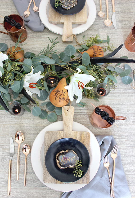 Moody Thanksgiving Tabletop Inspiration via Minted