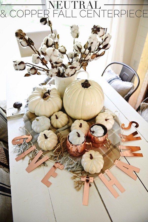 Neutral And Copper DIY Thanksgiving Centerpiece via Liz Marie Blog