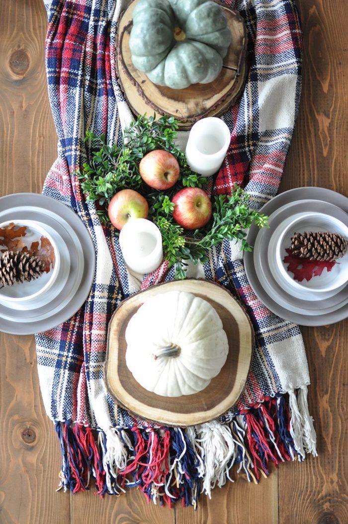 Plaid Blanket Table Runner Fall Tablescape via CherishedBliss