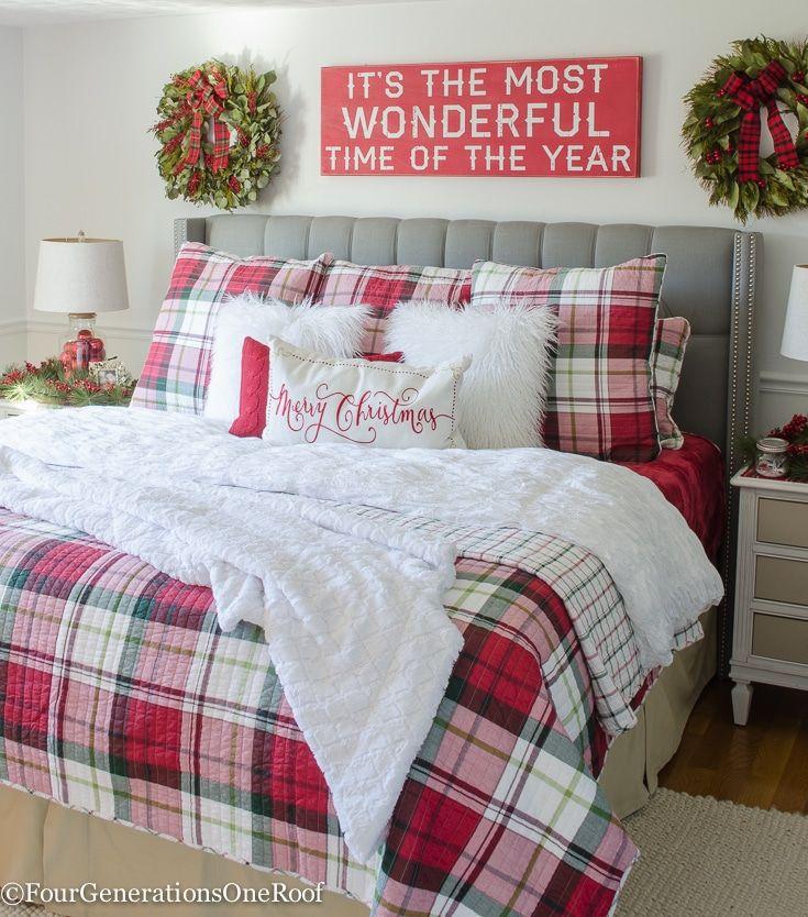 Plaid Christmas Bedroom Decor via fourgenerationsoneroof