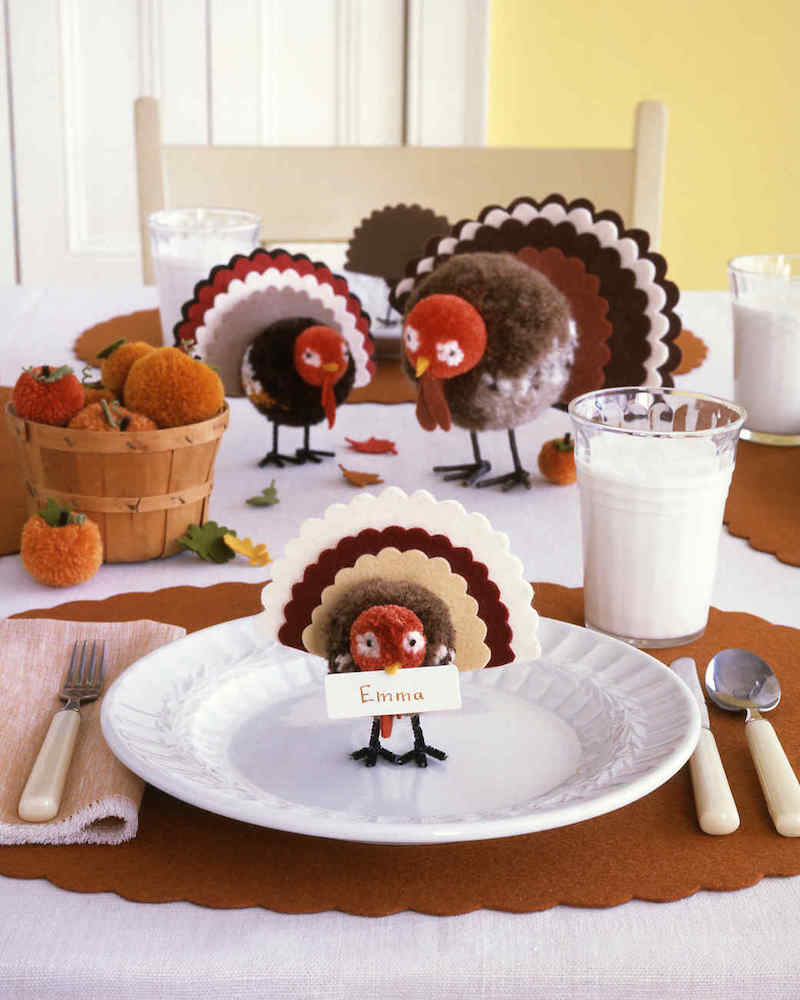 Pom Pom Turkey Place Card DIY For Thanksgiving Via Martha Stewart