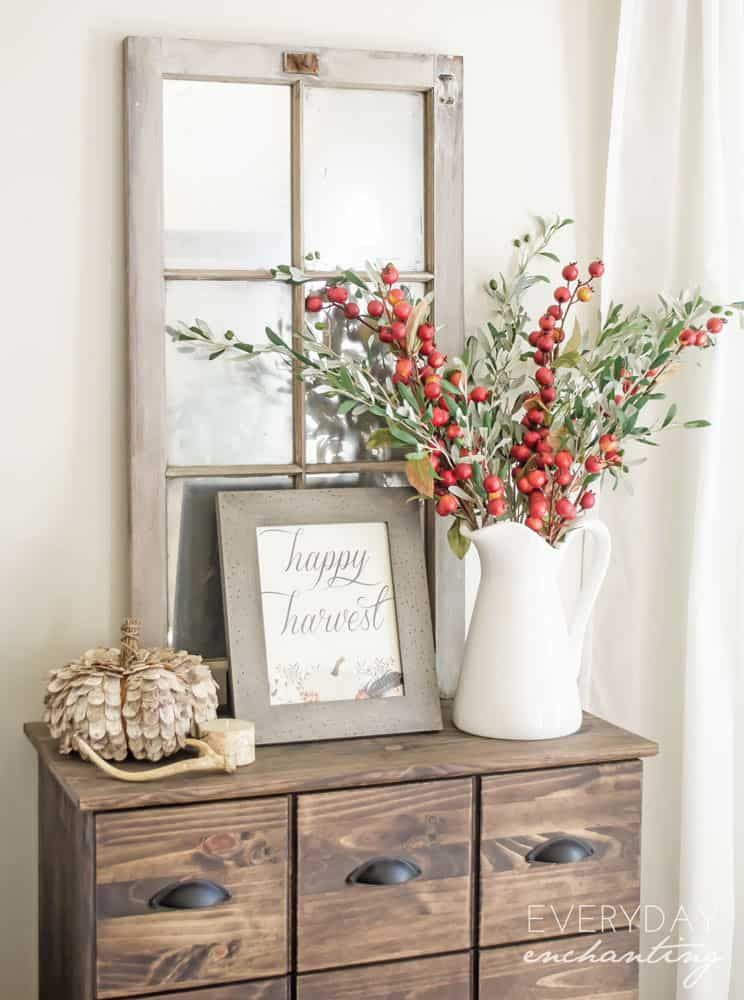 Pomegranate Branches In Large White Pitcher Fall Decor Ideas Via Ninahendrick