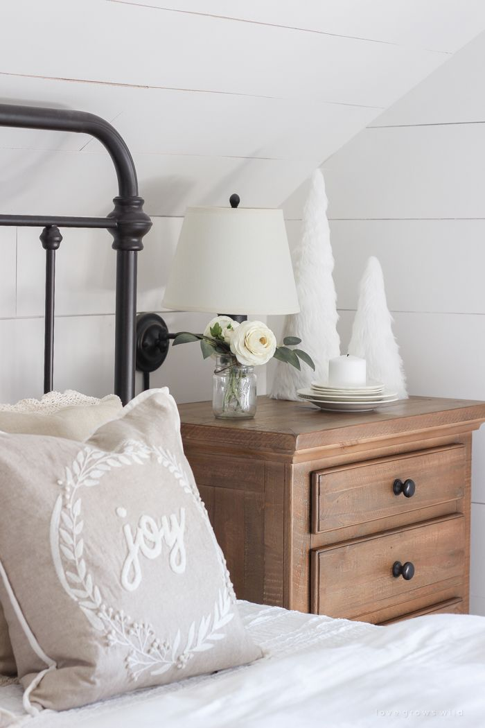 Simple Christmas Bedroom Decor with Joy Pillow via lovegrowswild