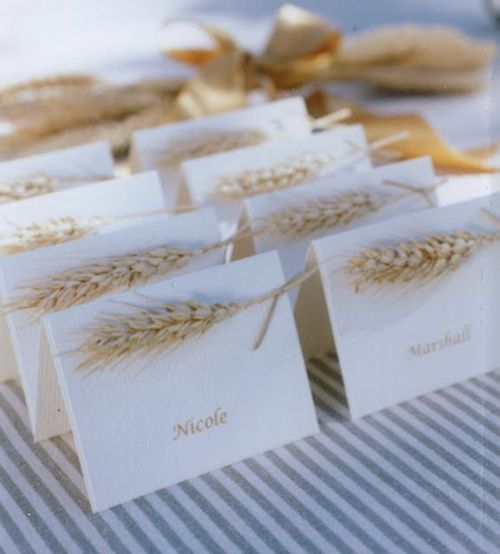 Simple Wheat Placecards For Thanksgiving
