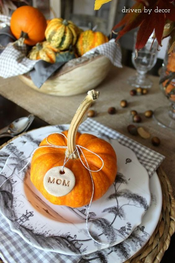 Small Pumpkin Place Setting Thanksgiving Table Decor via Driven By Decor
