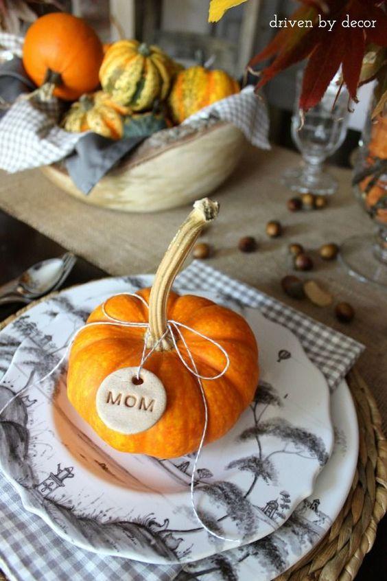 Small Pumpkin Place Setting Thanksgiving Table Decor via Driven By Decor