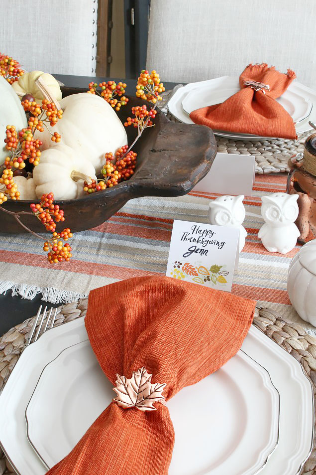 Orange Bittersweet and Copper Napkin Ring Thanksgiving Tablescape via CleanandScentsible
