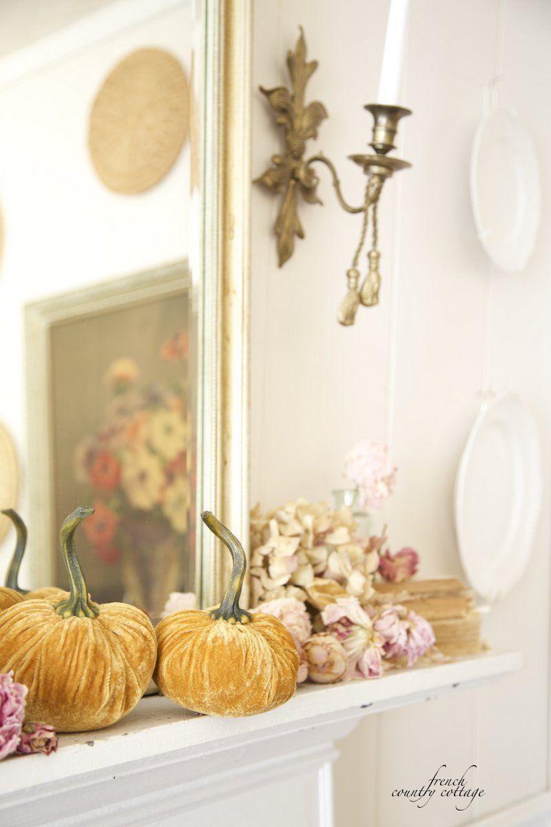 Velvet Pumpkins Fall Home Decor Ideas via Frenchcountrycottage