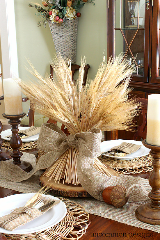 Warm Browns And Wheat Thanksgiving Tablescape via Uncommondesignsonline