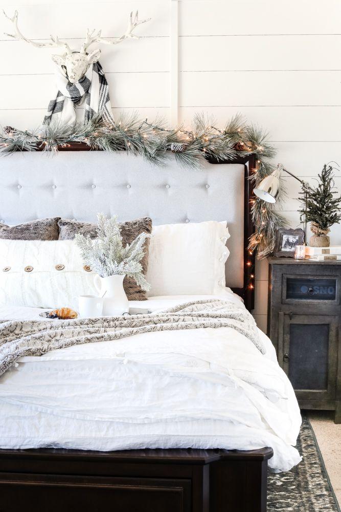 White Christmas Bedroom Decor via BlesserHouse