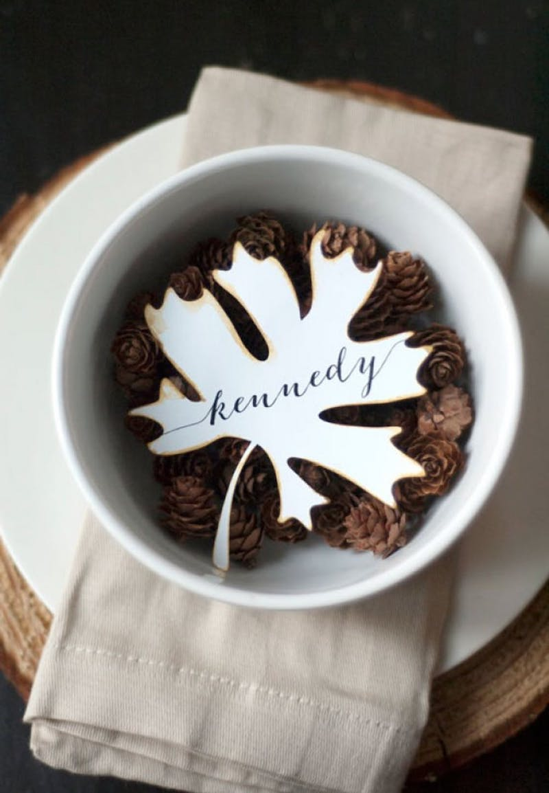 White Maple Leaf Thanksgiving Place Card Via Silhouette Blog