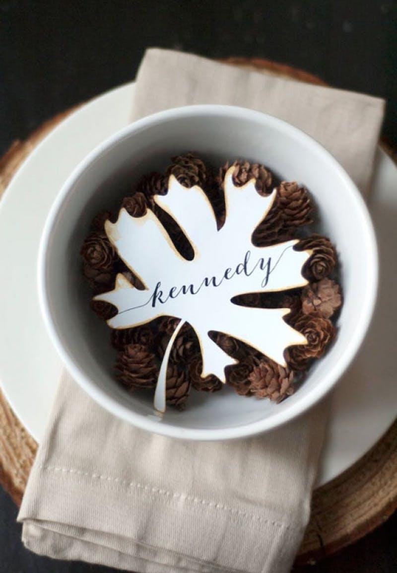White Maple Leaf Thanksgiving Place Card Via Silhouette Blog