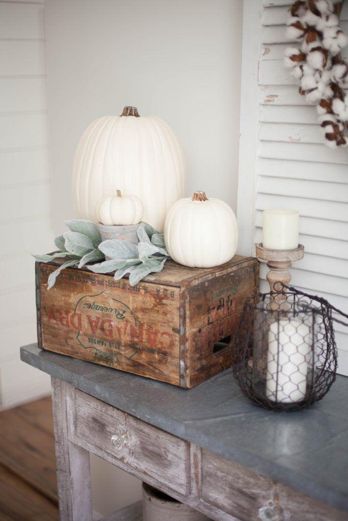 White Pumpkins On A Wooden Crate Fall Farmhouse Decor via Laurenmcbrideblog