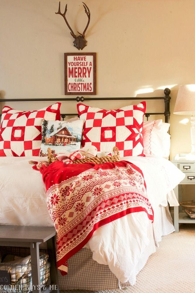 Winter Home Christmas Bedroom Decor via goldenboysandme