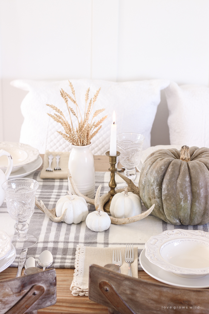 Wood Antlers Thanksgiving Centerpiece On Vintage Country Thanksgiving Tablescape via LoveGrowsWild