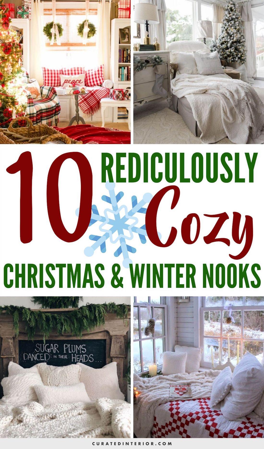 10 Rediculously Cozy Christmas & Winter Nooks #WinterDecor #WinterHome