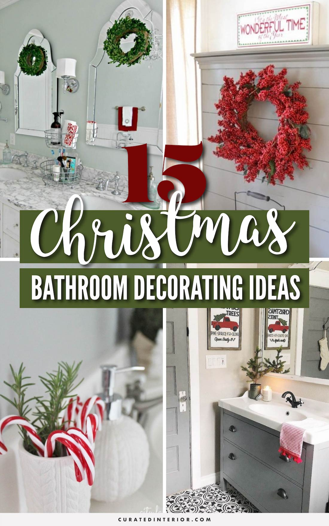 15 Brilliant Christmas Bathroom Decor Ideas! #BathroomDecor #ChristmasDecor #ChristmasHome #ChristmasBathroom