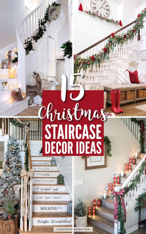 15 Christmas Staircase Decor Ideas #Christmas #ChristmasDecor