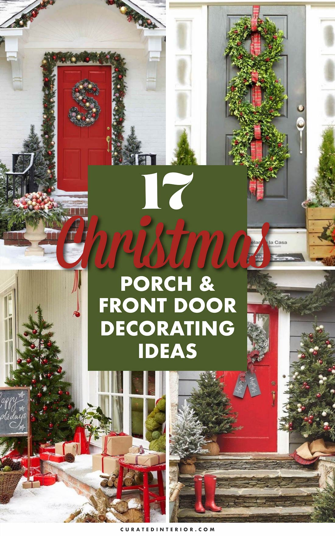 17 Best Christmas Porch & Front Door Decorating Ideas #ChristmasDecor #ChristmasHome