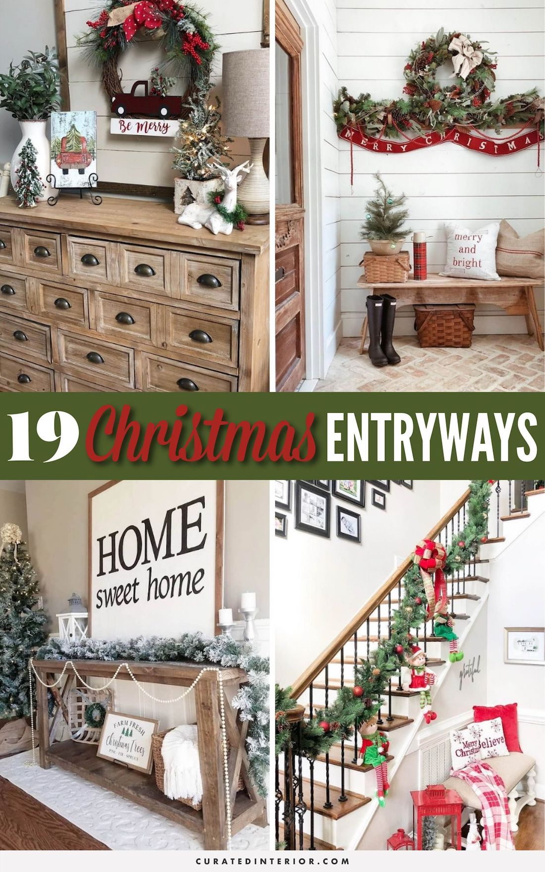 19 Christmas Entryway Decor Ideas #ChristmasDecor #Entryways #ChristmasHome