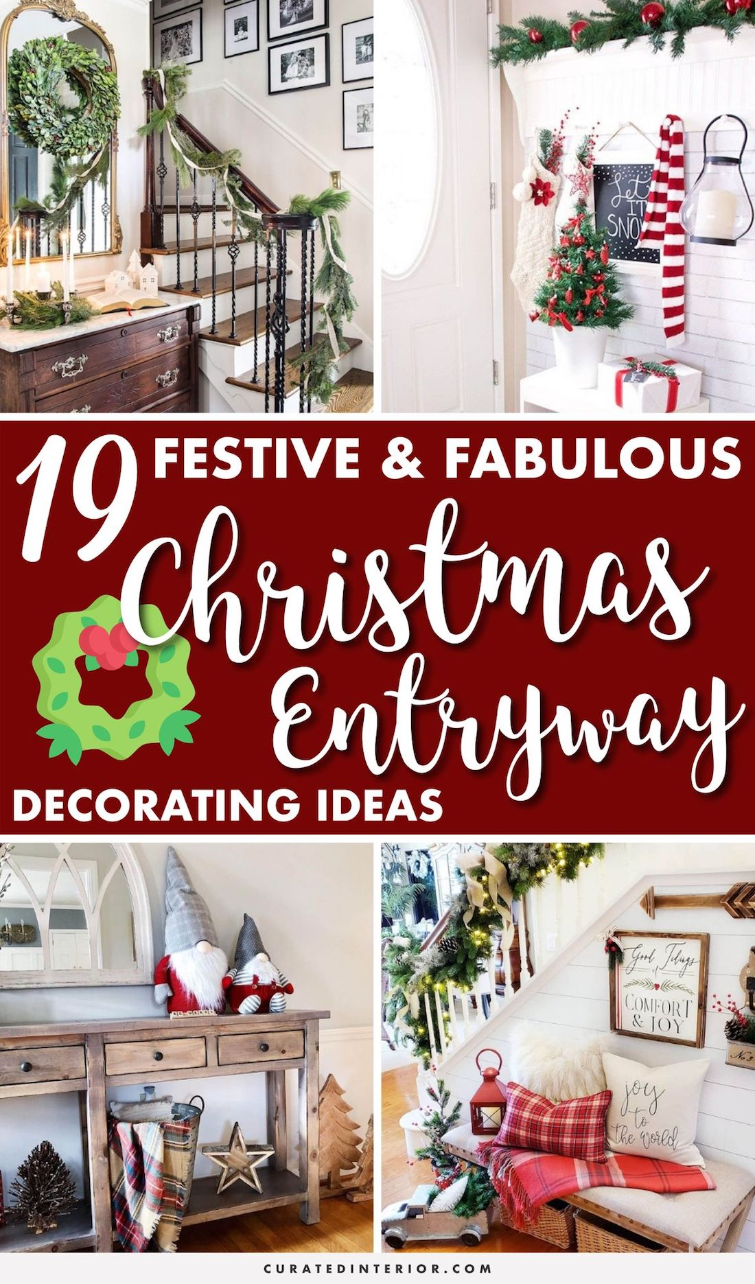 19 Festive Christmas Entryway Decorating Ideas #ChristmasDecor #Entryways #ChristmasHome