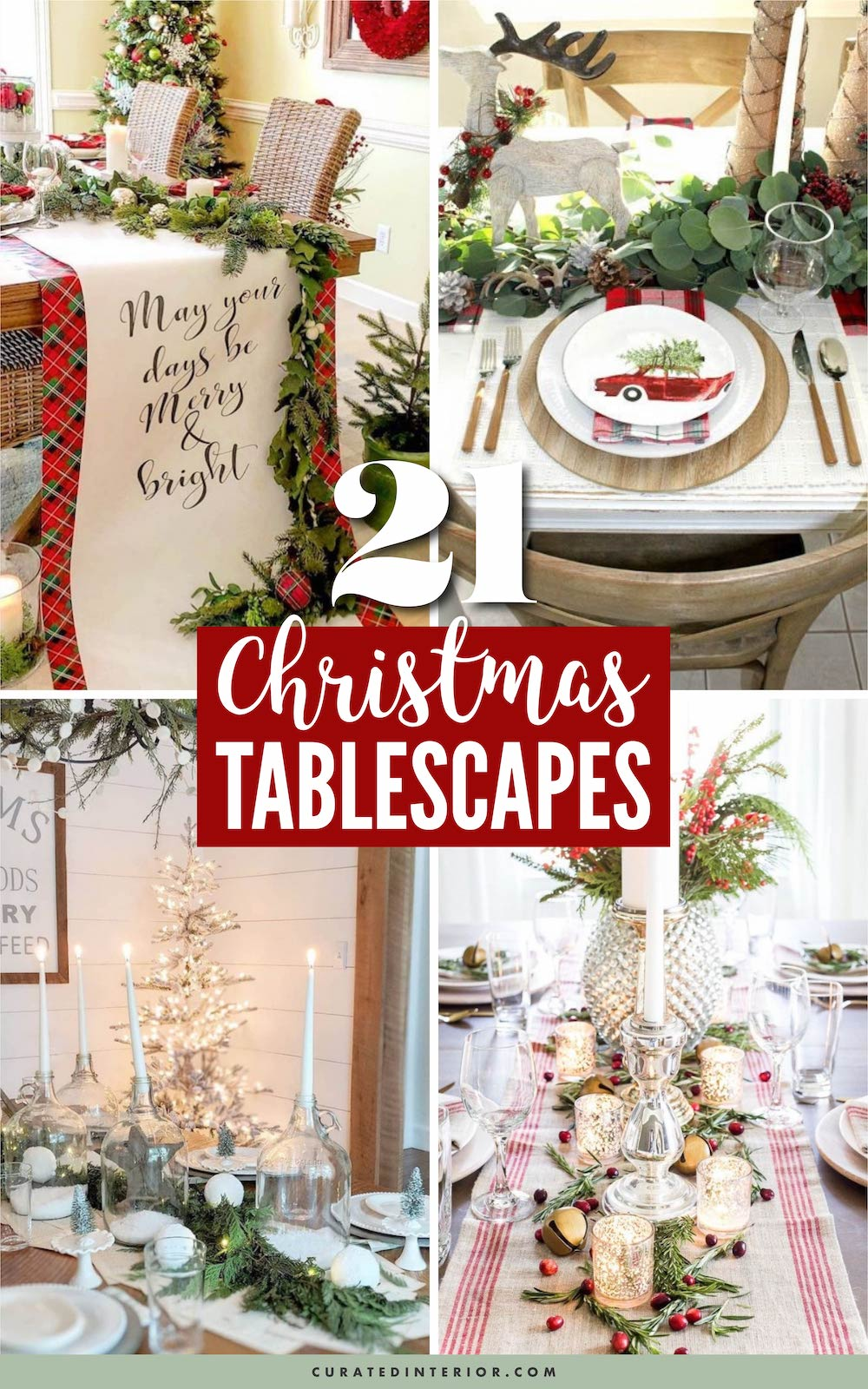 21 Christmas Tablescapes You Need to See!! #ChristmasDecor #ChristmasTablescapes