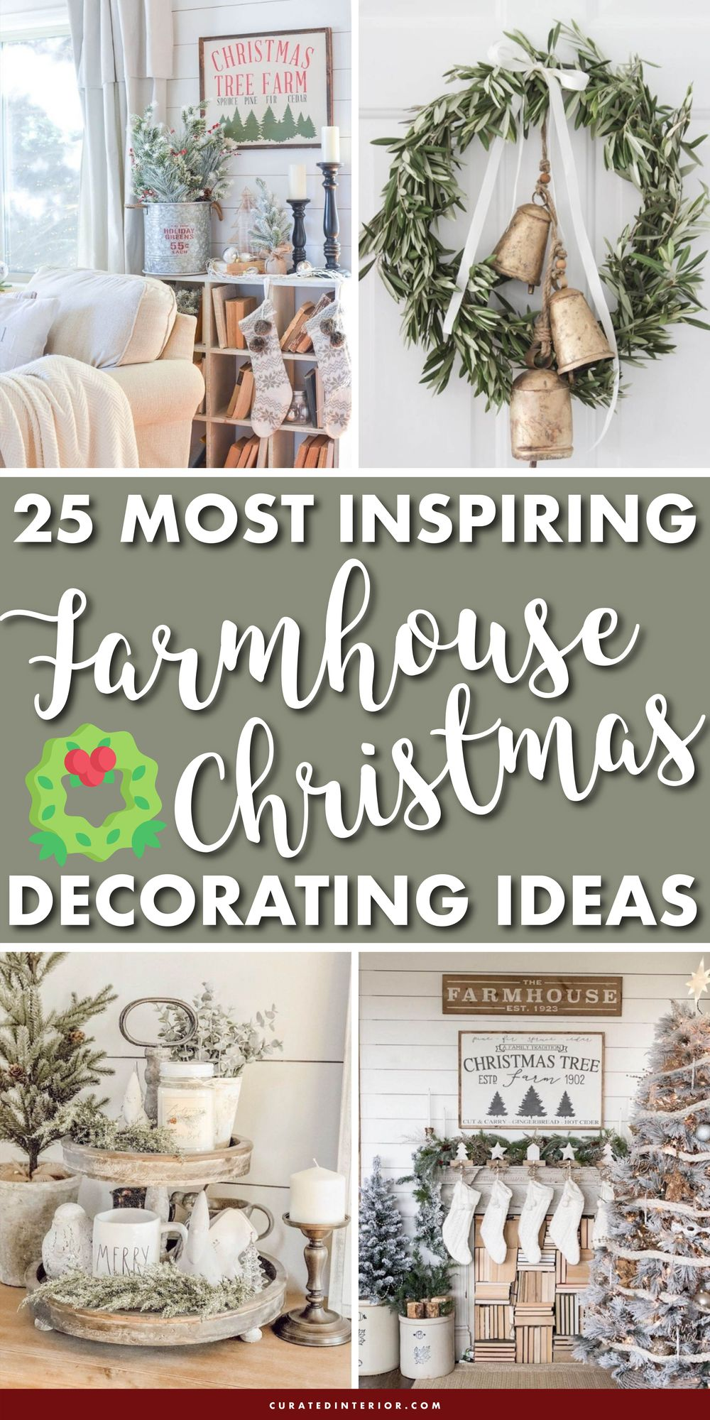 25 Most Inspiring Farmhouse Christmas Decorating Ideas #FarmhouseChristmas #FarmhouseDecor