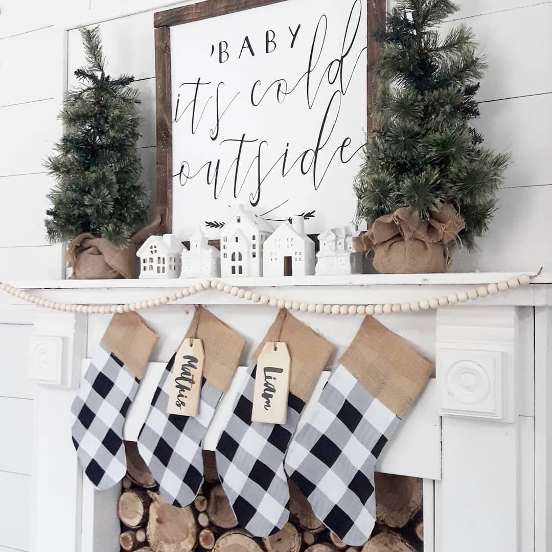 Baby it's Cold Outside Christmas Mantel with Checkered Stockings via @threearrowsco