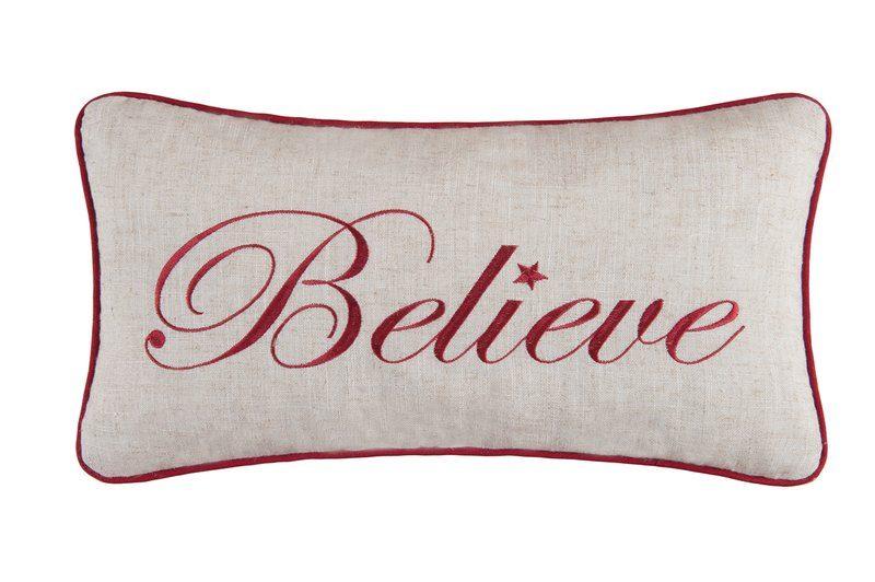 Believe Lumbar Christmas Pillow