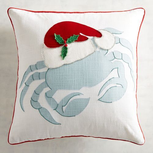 Blue Christmas Crab Pillow from Pier1
