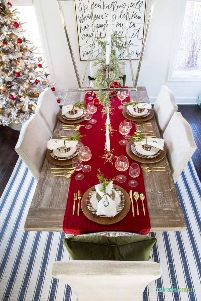 Bright red table runner Christmas Tablescape idea via lifeonvirginiastreet