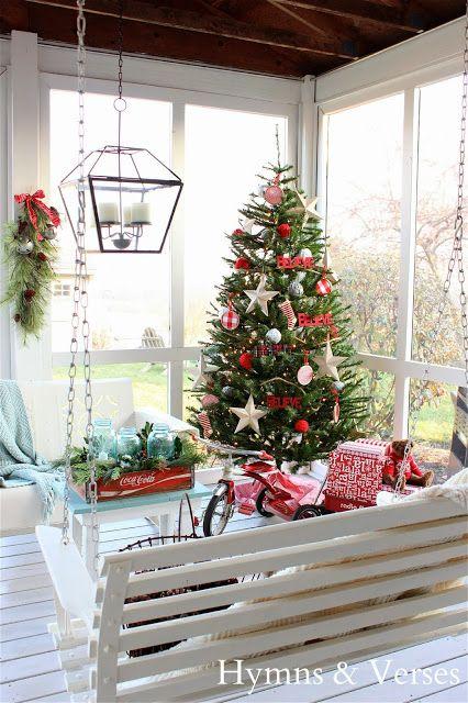 Christmas Back Porch Cozy Nook for Winter via hymnsandverses