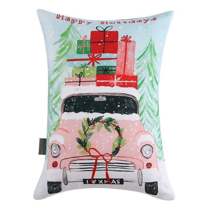 Christmas Car Cotton Lumbar Pillow