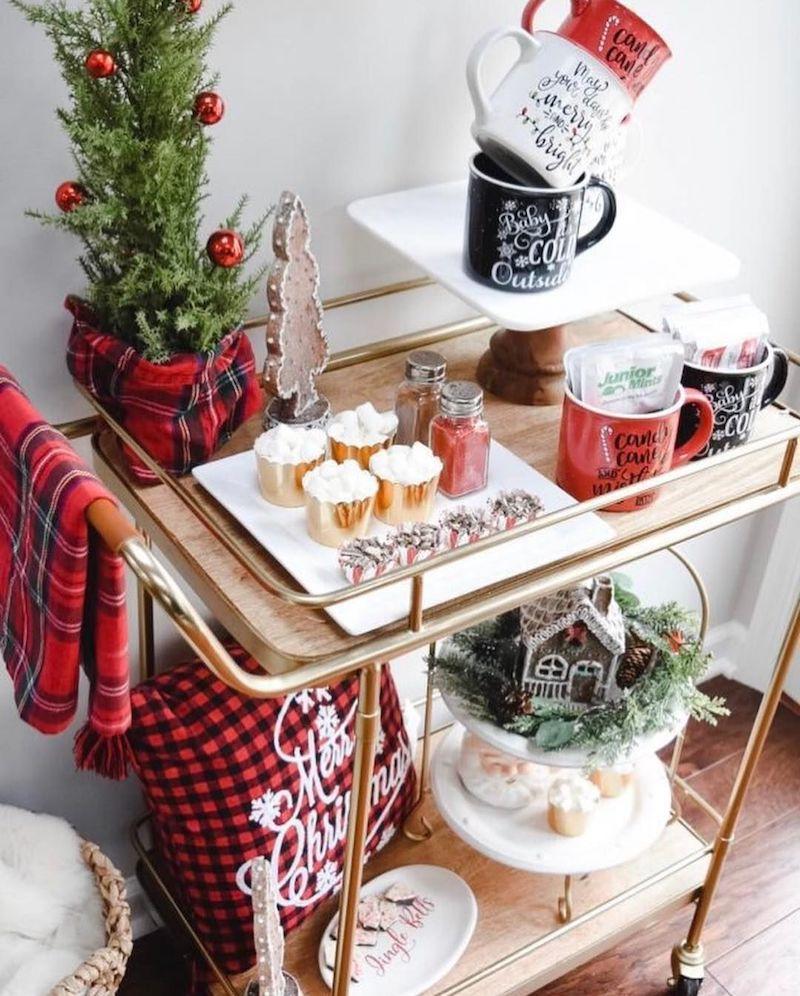Christmas Cocoa Bar Cart via @christmastreeshops @atuftedlife #HotCocoaBar