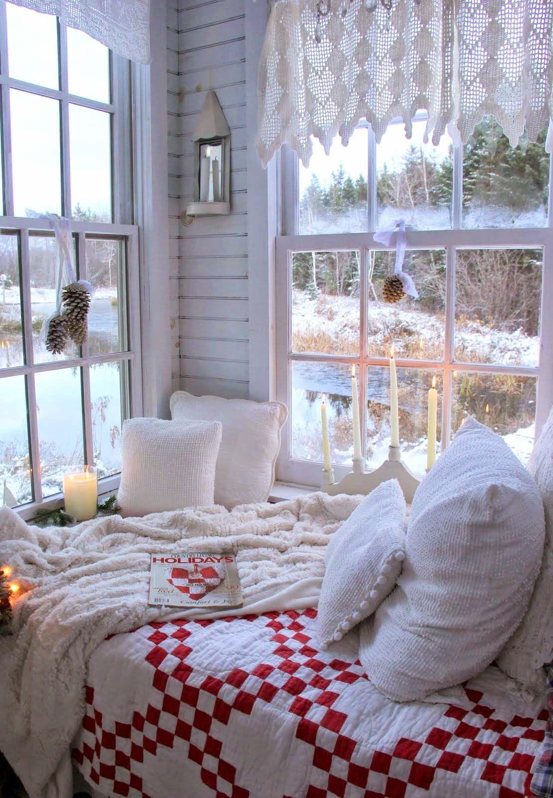 Christmas Corner Nook overlooking winter lake