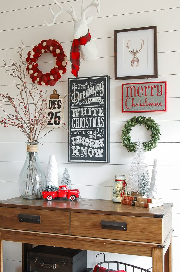 Christmas Entryway Console Table Decor with Wooden Christmas Signs via littlehouseoffour #ChristmasDecor #ChristmasHome
