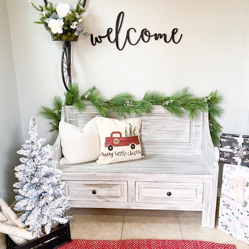 Christmas Entryway with Red Truck Pillow via @blossominginteriors #ChristmasDecor #ChristmasHome