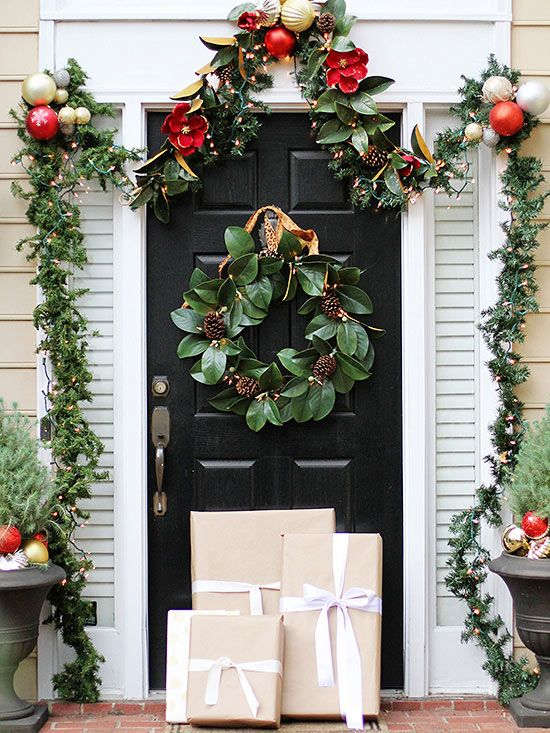 Christmas Garlands on Black Front Door