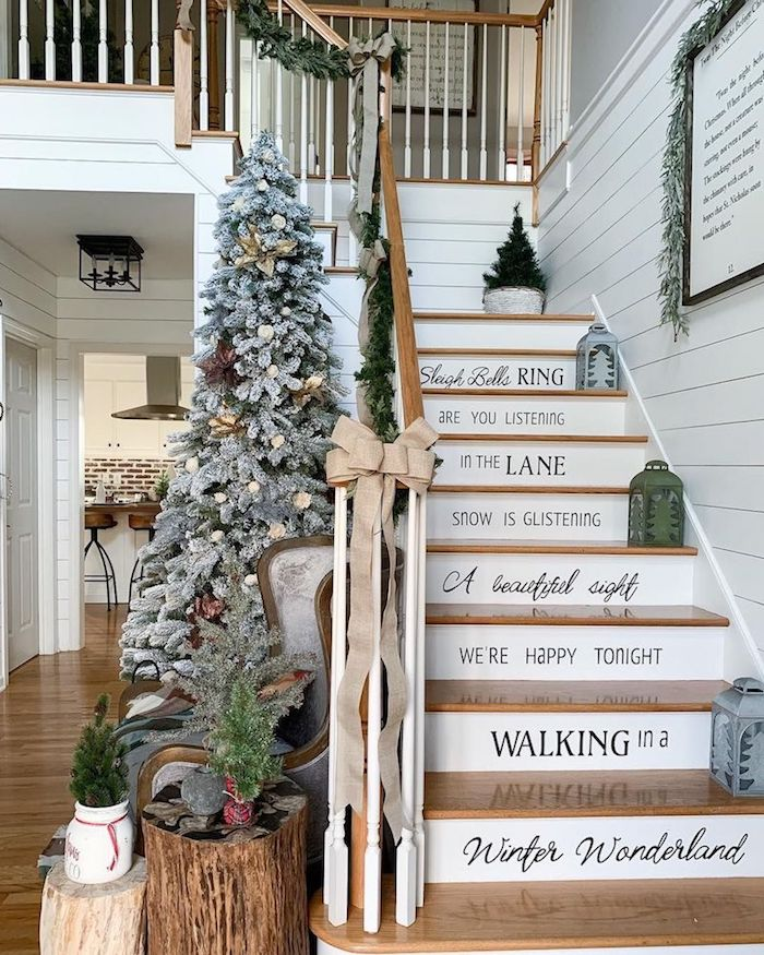 Christmas Lyrics on the back of the Stairs via @farmhousechic4sure