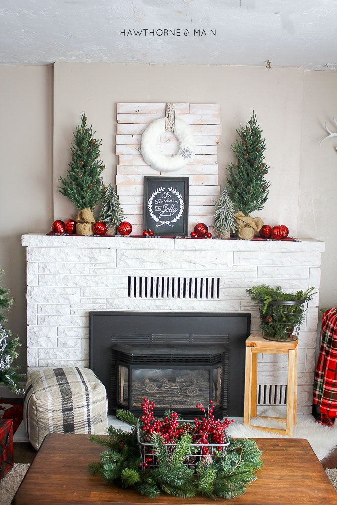 Christmas Mantel with Red Ornaments via hawthorneandmain
