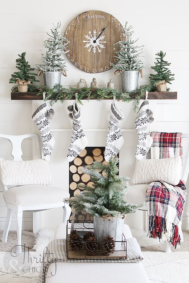Christmas Mantel with Wood Clock via thriftyandchic